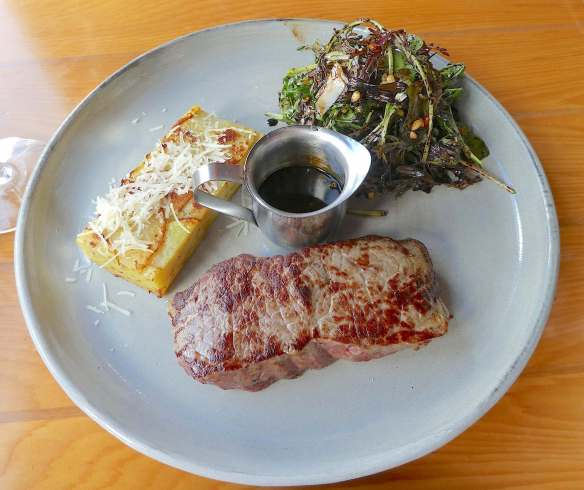 17.Cape Grim porterhouse with potato galette, yorktown organic leaves, goat cheese, pine nuts + sticky balsamic with green peppercorn jus copy