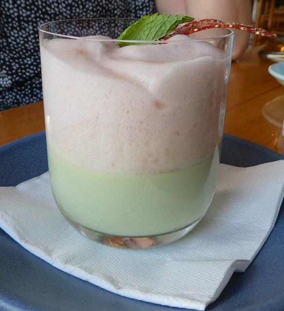 22.basil panna cotta, white peach foam, quinoa crisp & fresh berries