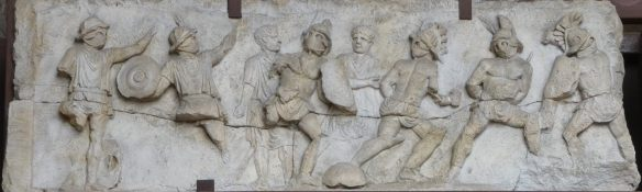 21.Bas relief of gladiators fighting