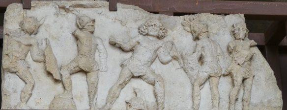 22.Bas relief in the Colosseum of gladiators fighting