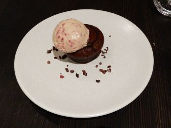 52.dark chocolate, raspberry & cocoanib crunch with raspberry ice cream