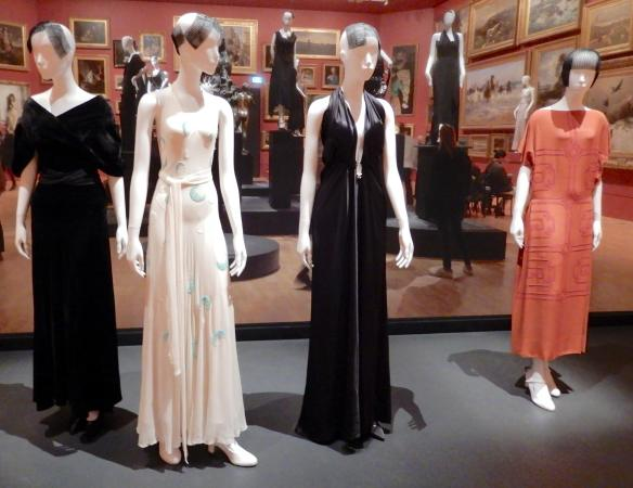 21.Madeleine Vionnet, (L-R) evening dress 1933, 1931, 1938, afternoon dress 1923