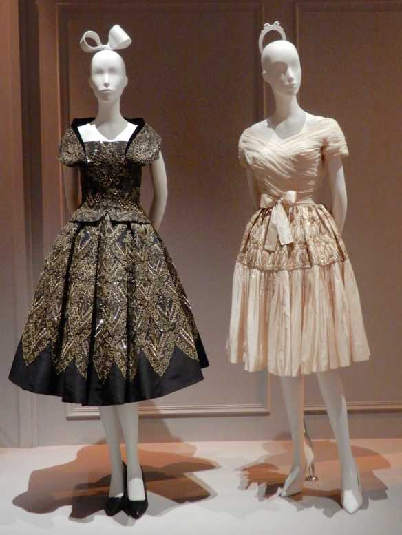57.(L-R)Christian Dior, Mexico cocktail dress 1954; Lanvin, cocktail dress 1955