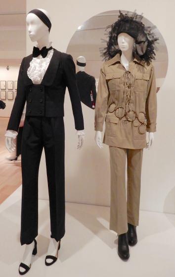 63.Yves Saint Laurent, (L-R) suit 1967; Saharienne suit 1968