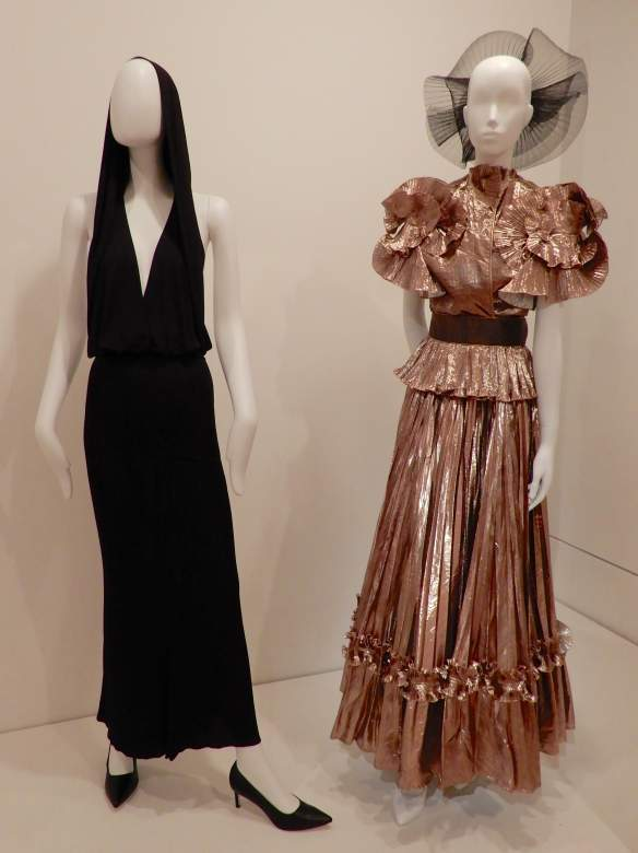 73.Alaïa, dress 1985; Zandra Rhodes, evening ensemble 1981